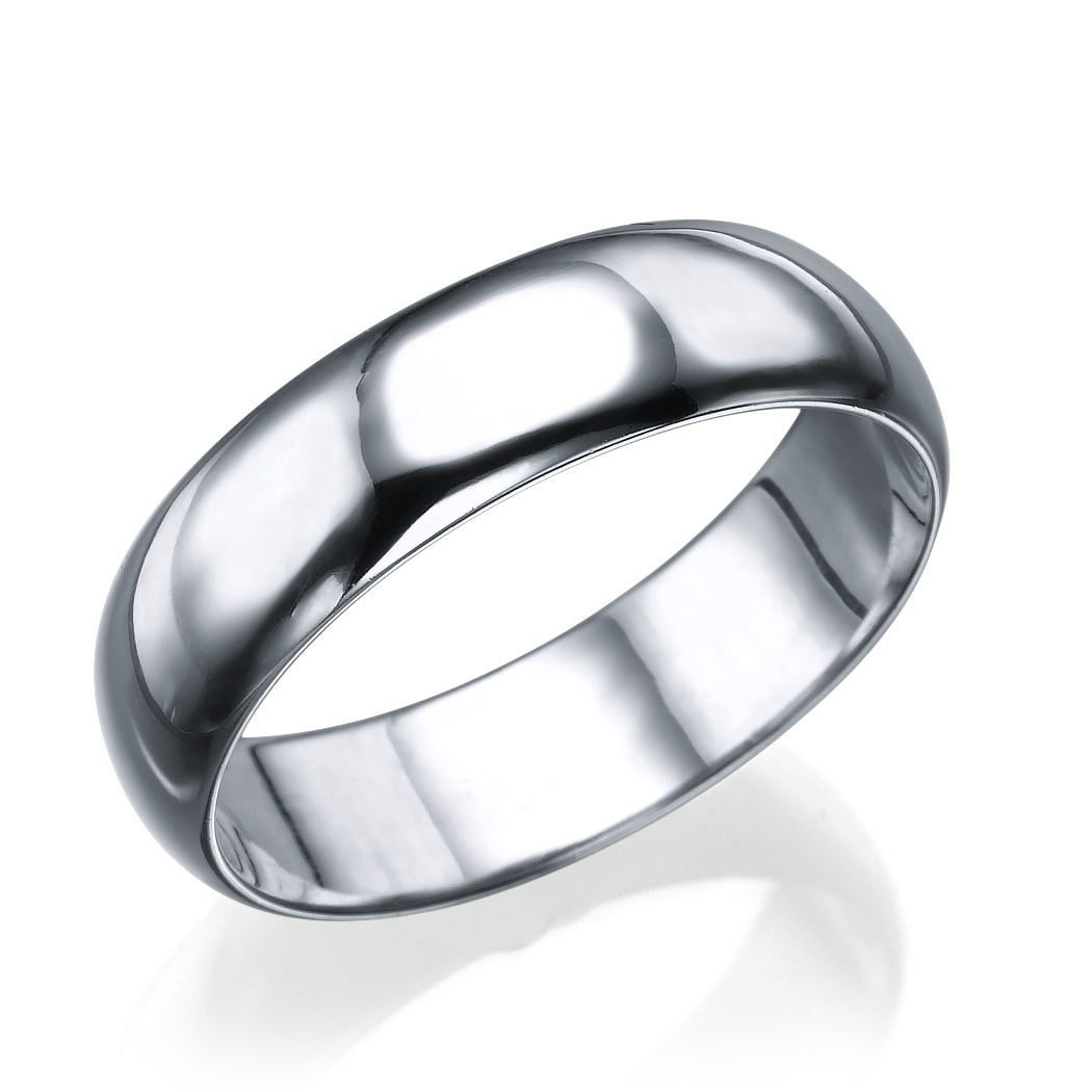 56mm Womens Plain Wedding Band Ring In Solid 14K White Gold